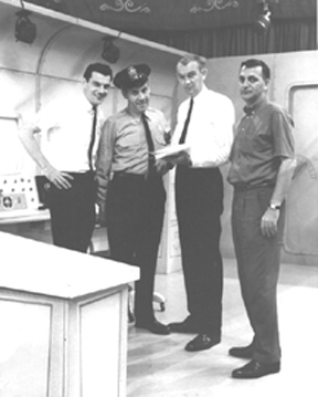 L-R- Ron MacAdam, Ray Rayner, Dale Juhlin (director), and Hal Stein.  Courtesy of The MBC.